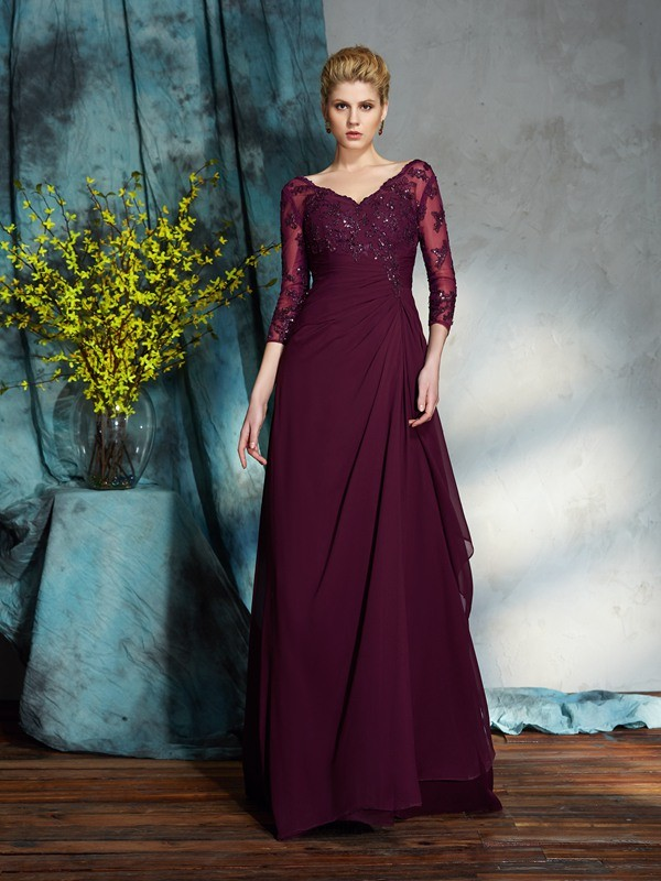 Chicregina A-Line/Princess 3/4 Sleeves V-neck Floor-Length Chiffon Mother of the Bride Dress with Beading