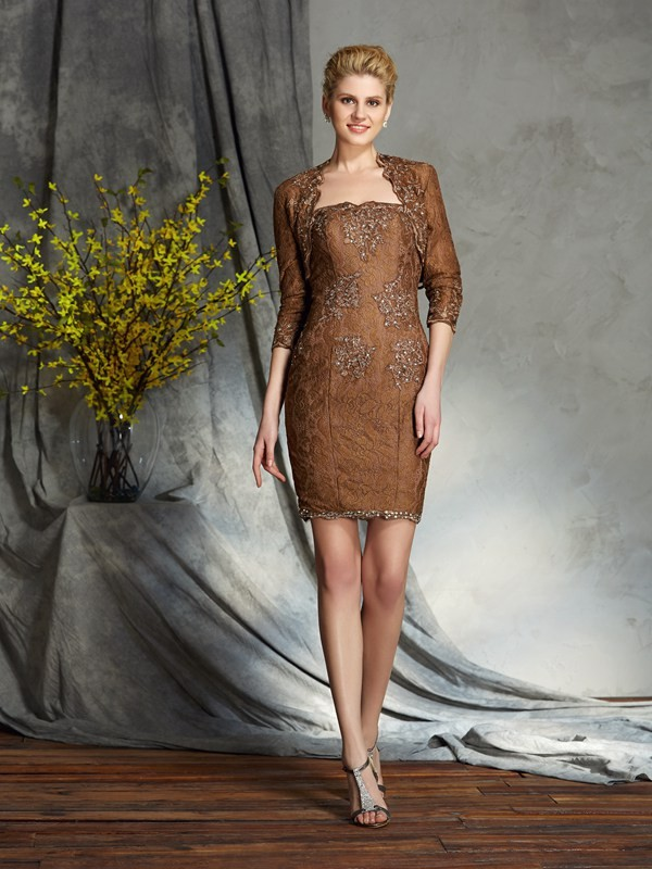 Chicregina Sheath/Column Strapless Lace Mini Mother of the Bride Dress with Beading