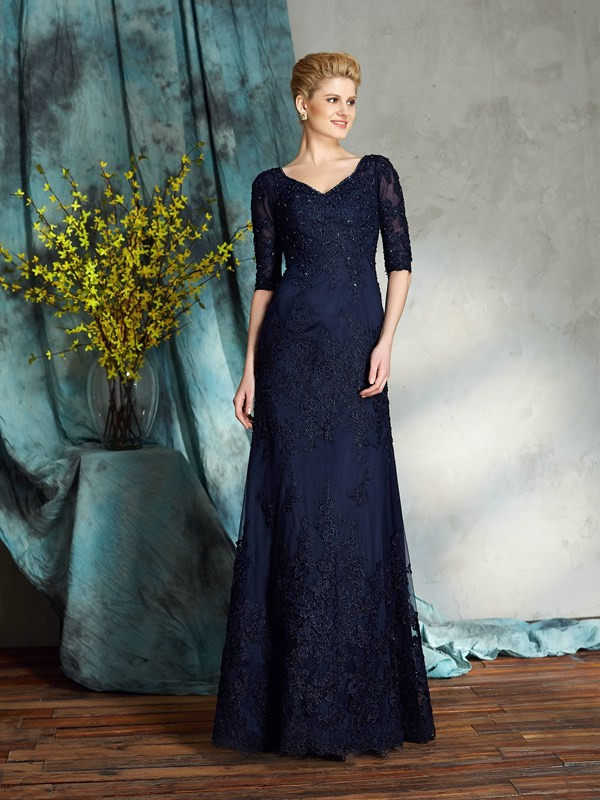 Chicregina Sheath/Column 1/2 Sleeves V-neck Satin Floor-Length Mother of the Bride Dress with Beading Applique