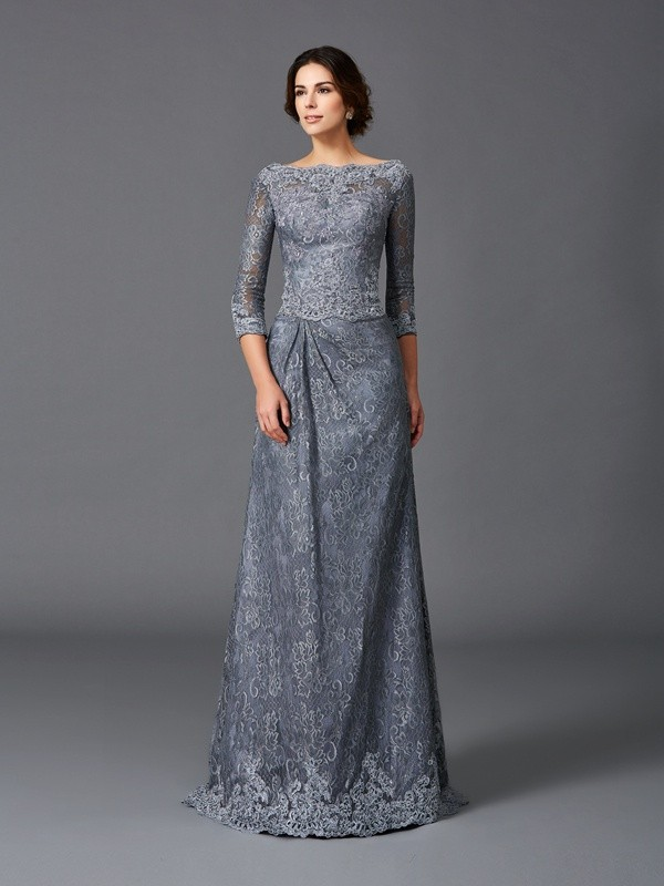 Chicregina A-Line/Princess Bateau 3/4 Sleeves Lace Sweep/Brush Train Net Mother of the Bride Dress with Ruched