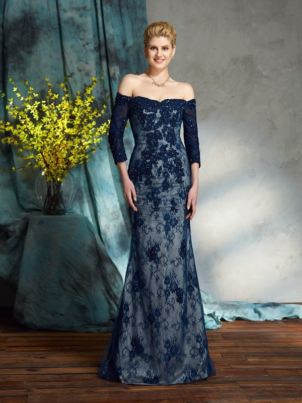 Chicregina Trumpet/Mermaid Off-the-Shoulder 3/4 Sleeves Floor-Length Lace Mother of the Bride Dress with Beading