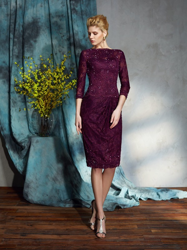 Chicregina Sheath/Column Bateau 3/4 Sleeves Lace Knee-Length Mother of the Bride Dress with Applique