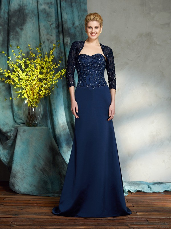 Chicregina Sheath/Column Sweetheart Satin Floor-Length Mother of the Bride Dress with Rhinestone