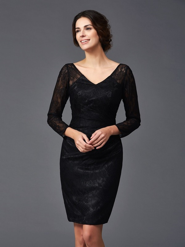 Chicregina Sheath/Column Long Sleeves V-neck Knee-Length Elastic Woven Satin Mother of the Bride Dress with Lace