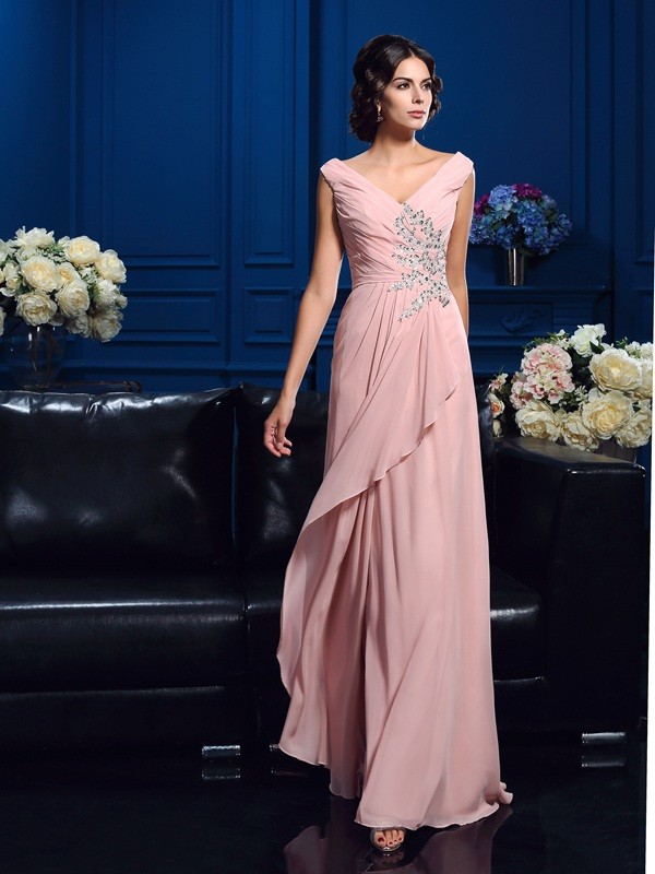 Chicregina A-Line/Princess V-neck Sweep/Brush Train Chiffon Mother Of The Bride Dress with Ruffles Beading
