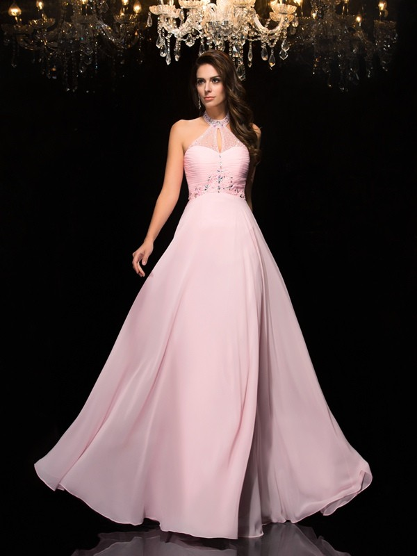 Chicregina A-Line/Princess Halter Floor-Length Chiffon Dress with Sash Beading