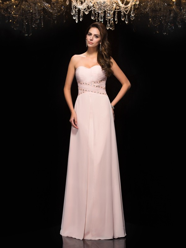 Chicregina A-Line/Princess Sweetheart Chiffon Floor-Length Dress with Ruffles Beading