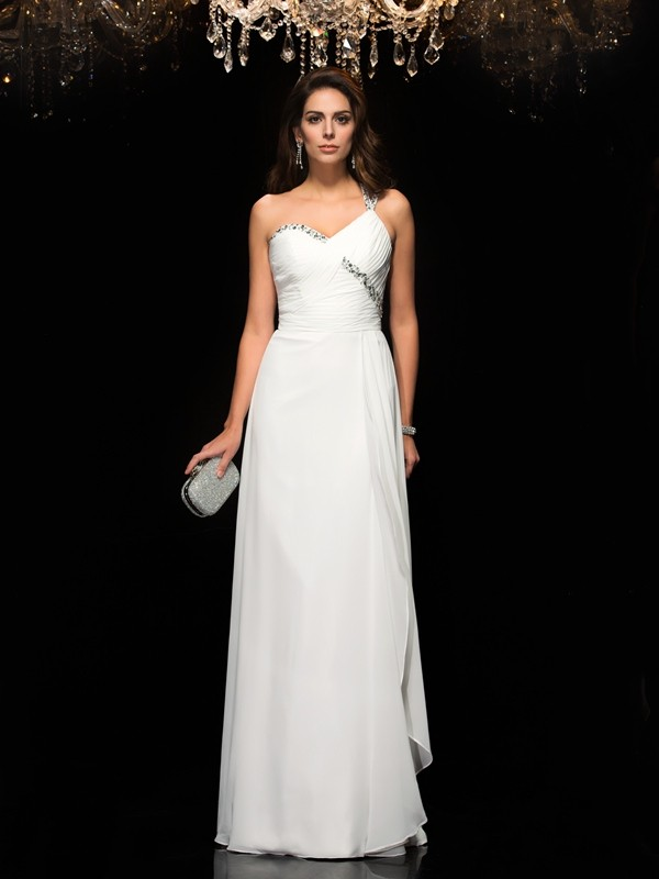 Chicregina A-Line/Princess One-Shoulder Chiffon Floor-Length Dress with Beading