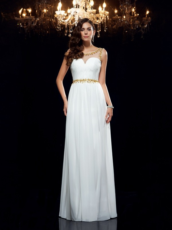 Chicregina A-Line/Princess Sheer Neck Chiffon Floor-Length Dress with Beading
