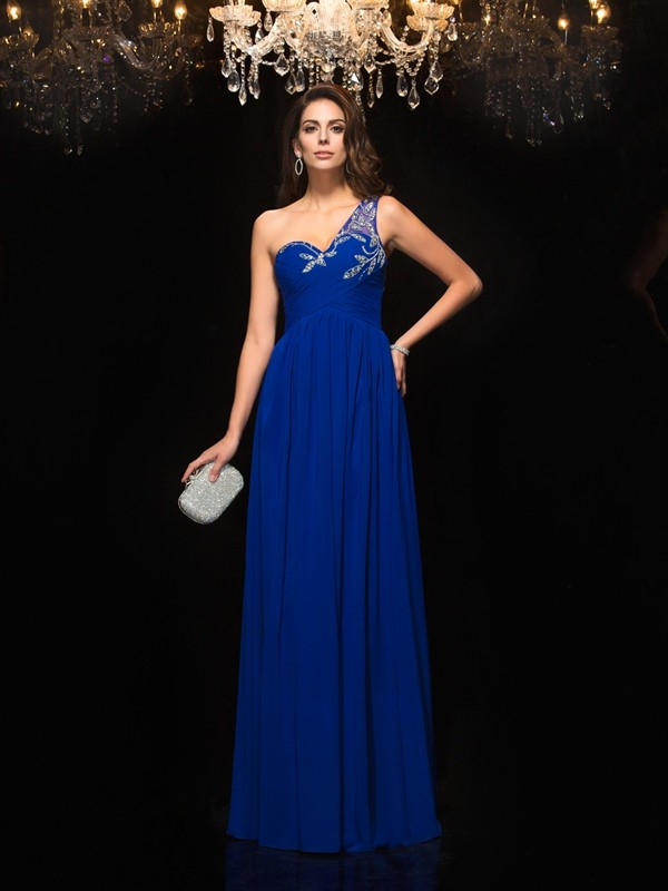 Chicregina A-Line/Princess One-Shoulder Floor-Length Chiffon Dress with Applique Beading