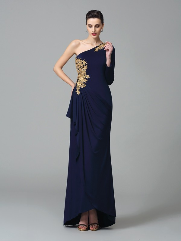 Chicregina Sheath/Column One-Shoulder Long Sleeves Floor-Length Spandex Dress with Lace Embroidery
