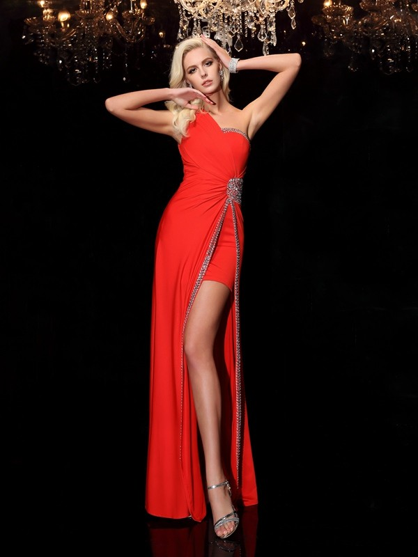 Chicregina Sheath/Column One-Shoulder Floor-Length Spandex Dress with Sash