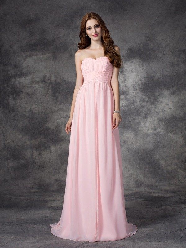 Chicregina A-line/Princess Sweetheart Sweep/Brush Train Chiffon Dress with Embroidery Ruched