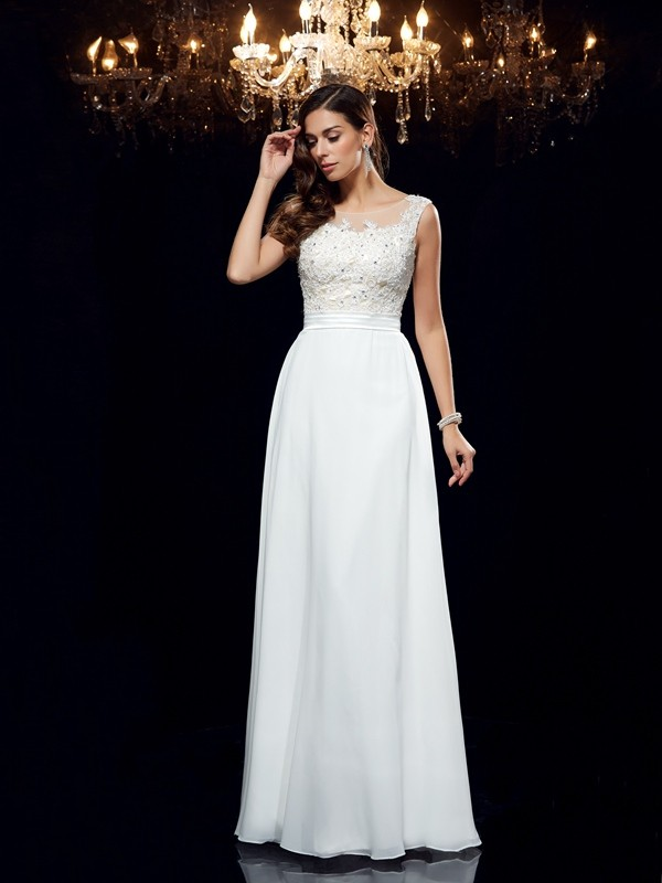 Chicregina A-Line/Princess Scoop Chiffon Floor-Length Dress with Ruched Applique