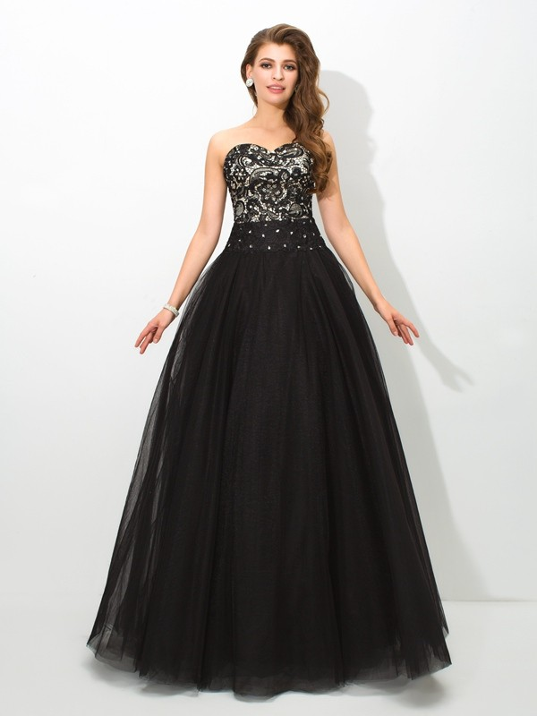 Chicregina Ball Gown Sweetheart Lace Floor-Length Net Dress with Ruched