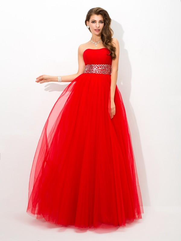 Chicregina Ball Gown Strapless Floor-Length Net Dress with Lace Beading