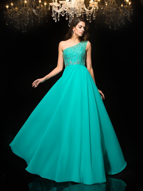 Chicregina A-Line/Princess One-Shoulder Floor-Length Chiffon Dress with Lace Beading