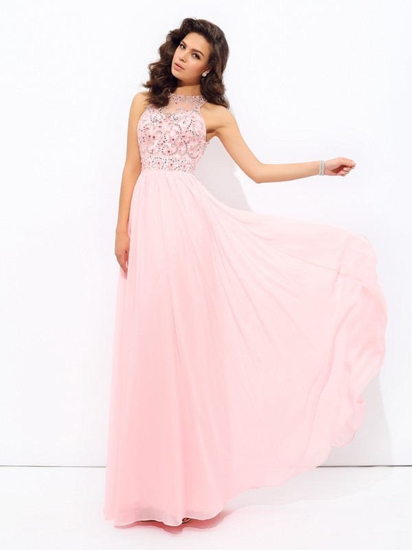Chicregina A-Line/Princess Jewel Chiffon Floor-Length Dress with Pleats Beading