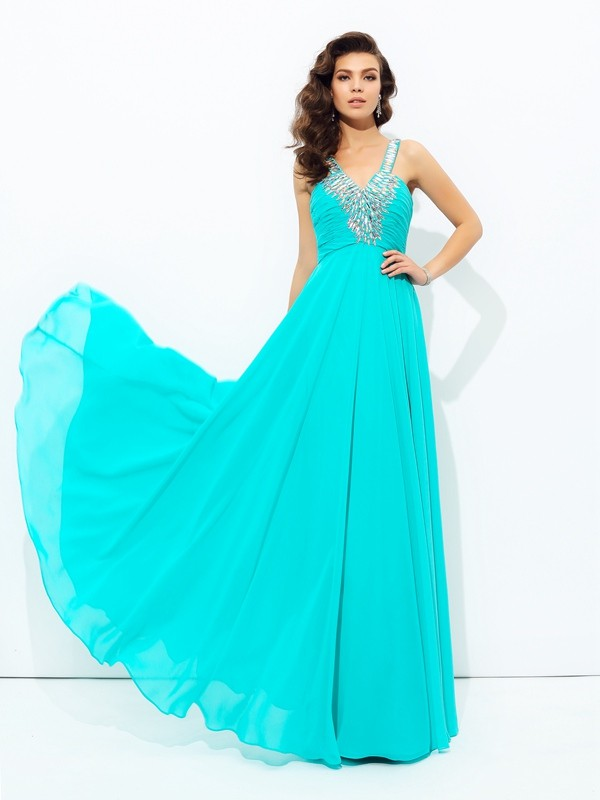 Chicregina A-Line/Princess V-neck Floor-Length Chiffon Dress with Sash Paillette