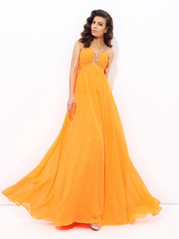 Chicregina A-Line/Princess V-neck Floor-Length Chiffon Dress with Ruffles Rhinestone