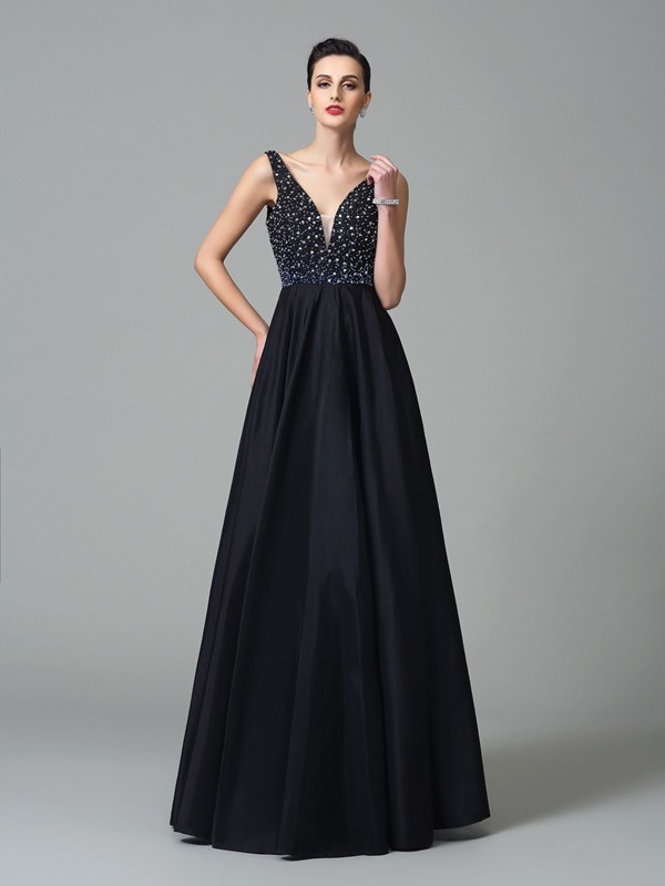 Chicregina A-Line/Princess Straps Floor-Length Taffeta Dress with Pleats Beading