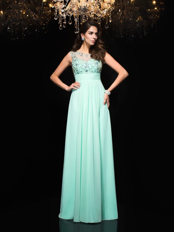 Chicregina A-Line/Princess Sheer Neck Chiffon Floor-Length Dress with Sequin Beading