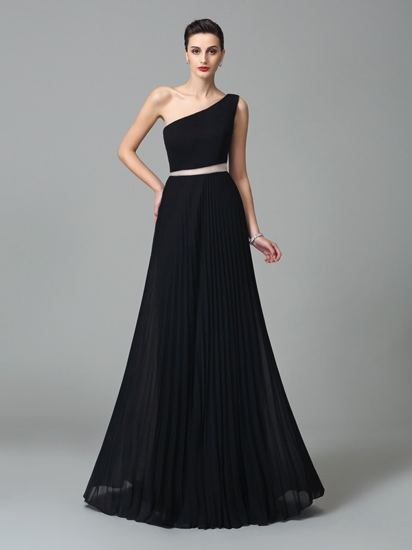 Chicregina A-Line/Princess One-Shoulder Floor-Length Chiffon Dress with Sash Pleats