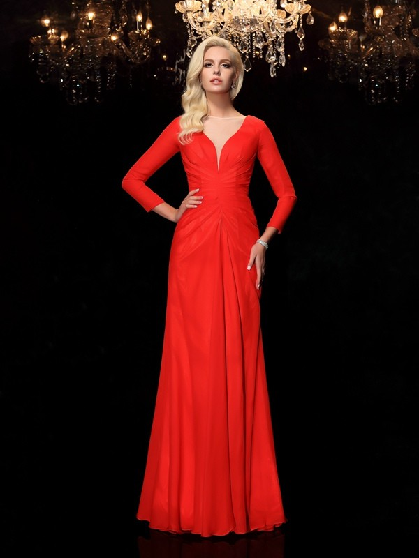 Chicregina Sheath/Column Bateau Long Sleeves Floor-Length Chiffon Dress with Ruffles