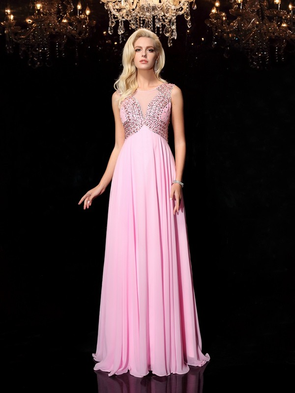 Chicregina Long A-line/Princess Scoop Chiffon Dress with Beading