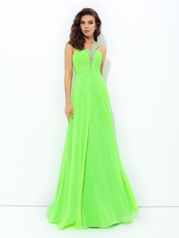 Chicregina A-Line/Princess One-Shoulder Floor-Length Chiffon Dress with Beading Rhinestone