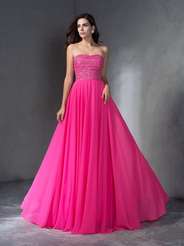 Chicregina A-Line/Princess Sweetheart Chiffon Sweep/Brush Train Dress with Embroidery Beading