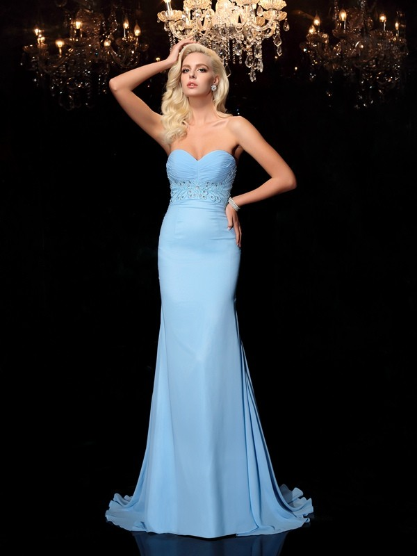 Chicregina Trumpet/Mermaid Sweetheart Sweep/Brush Train Chiffon Dress with Rhinestone