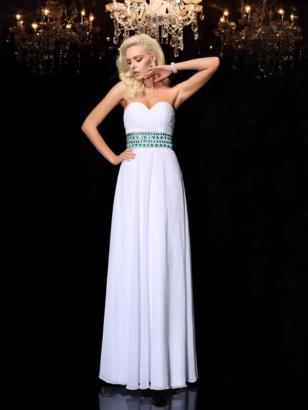 Chicregina A-line/Princess Floor-Length Sweetheart Chiffon Dress with Ruched Rhinestone