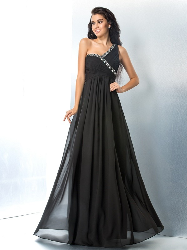 Chicregina A-Line/Princess One-Shoulder Floor-Length Chiffon Dress with Ruched