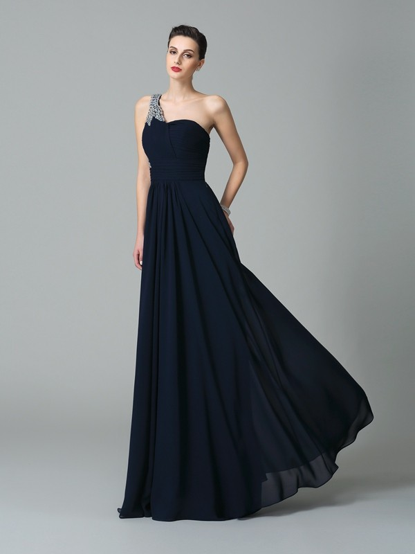 Chicregina Long A-Line/Princess One-Shoulder Chiffon Dress with Beading Rhinestone