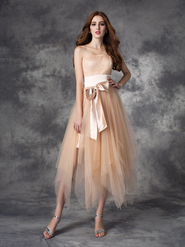 Chicregina A-line/Princess Strapless Ankle-Length Elastic Woven Satin Dress with Sequin Bowknot