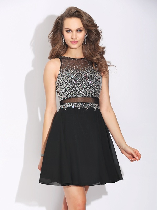 Chicregina A-Line/Princess Jewel Mini Chiffon Dress with Ruffles Beading