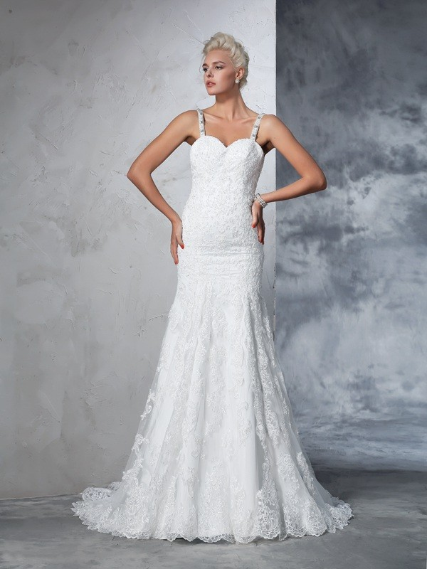 Chicregina Trumpet/Mermaid Spaghetti Straps Lace Chapel Train Wedding Dress with Embroidery