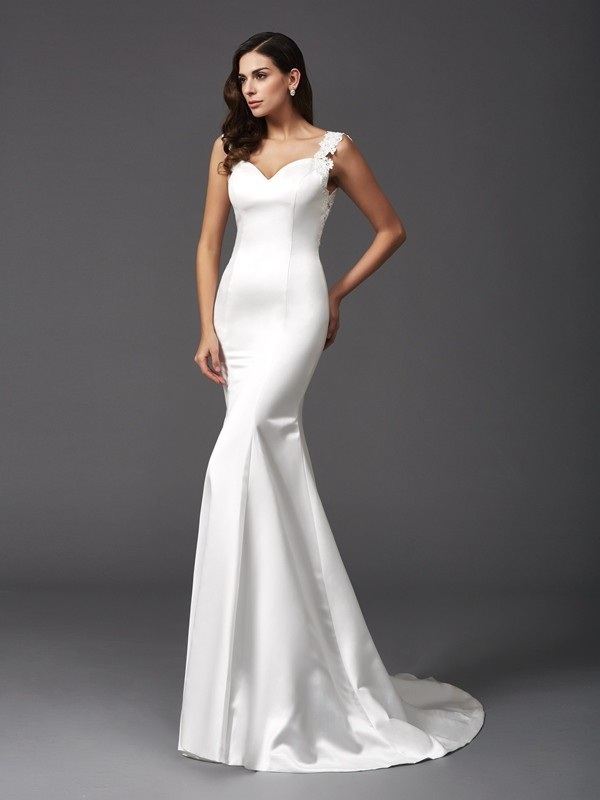Chicregina Trumpet/Mermaid Straps Sweep/Brush Train Satin Wedding Dress with Embroidery