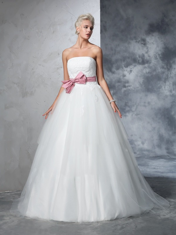 Chicregina Ball Gown Strapless Net Court Train Bowknot Wedding Gown with Ruffles