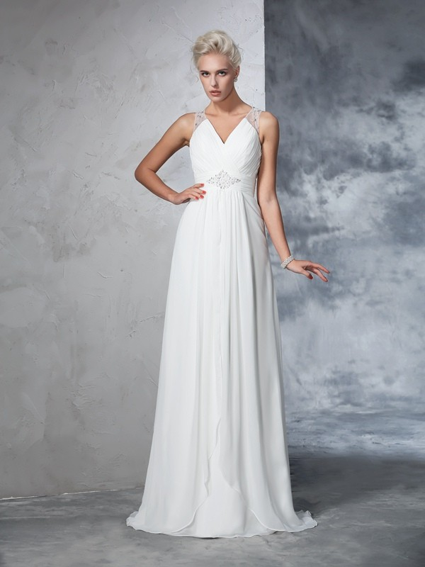 Chicregina A-Line/Princess V-neck Chiffon Sweep/Brush Train Wedding Gown with Beading Ruched