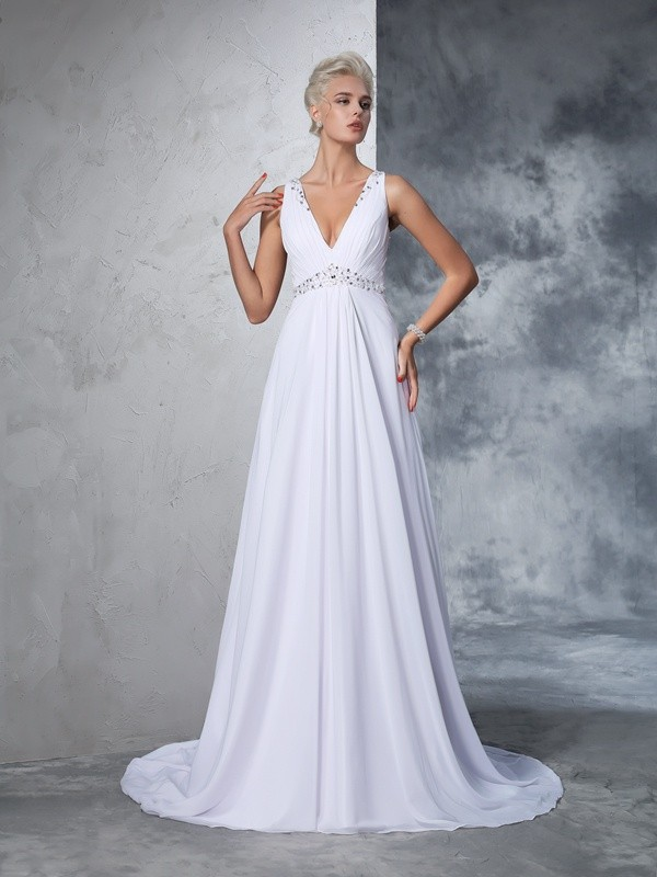 Chicregina A-Line/Princess V-neck Chiffon Beading Cathedral Train Wedding Gown with Beading
