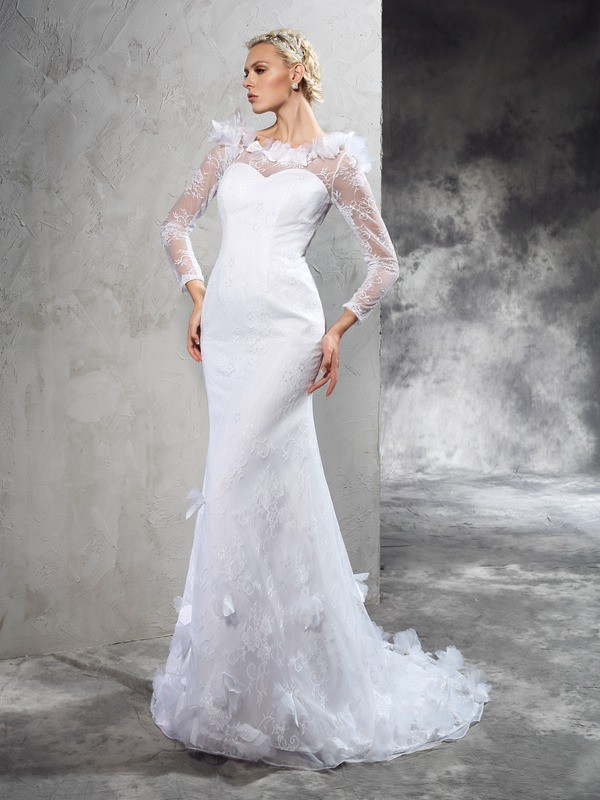 Chicregina Sheath/Column Sheer Neck Long Sleeves Court Train Satin Wedding Dress with Beading Hand-Made Flower