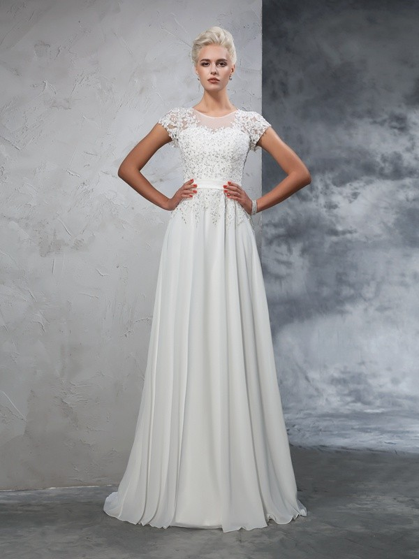 Chicregina A-Line/Princess Short Sleeves Sheer Neck Chiffon Applique Sweep/Brush Train Wedding Gown with Pleats