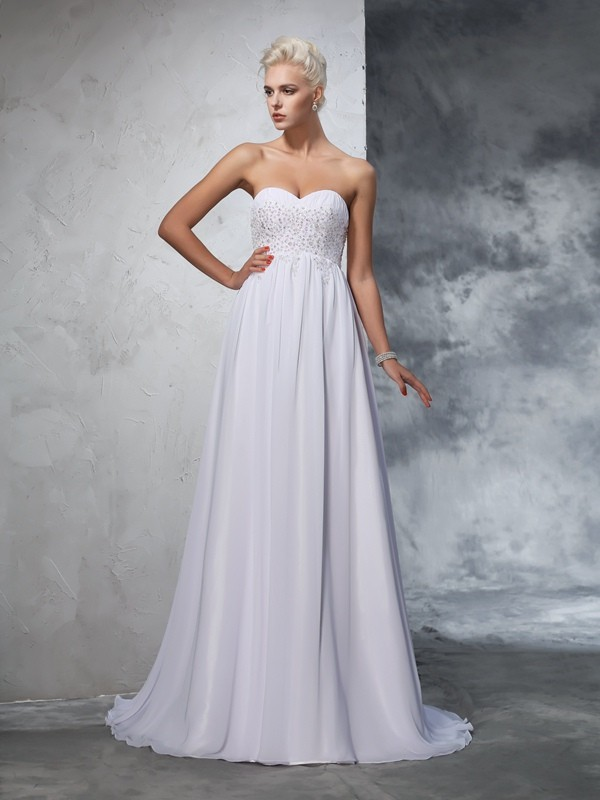 Chicregina A-Line/Princess Sweetheart Chiffon Beading Sweep/Brush Train Wedding Gown with Ruffles