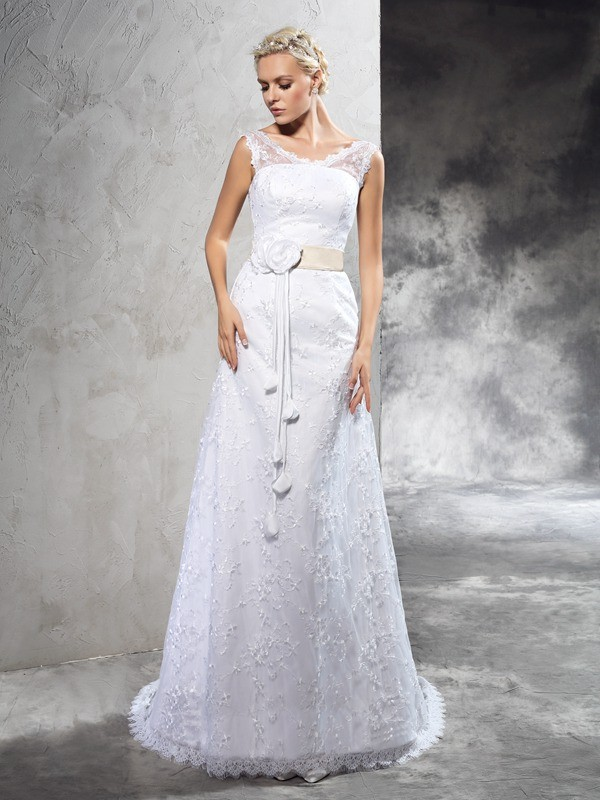 Chicregina Sheath/Column Sheer Neck Court Train Satin Wedding Dress with Applique Hand-Made Flower