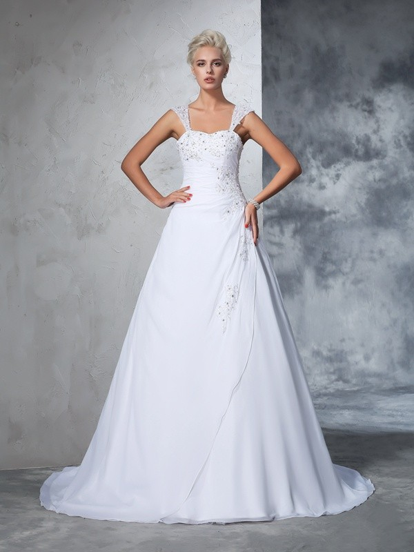 Chicregina Ball Gown Straps Chiffon Court Train Wedding Gown with Beading Applique