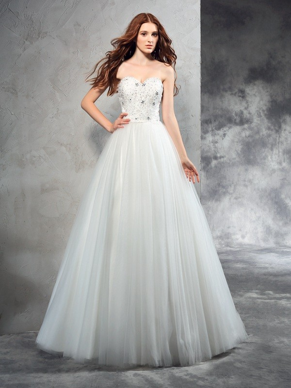 Chicregina A-Line/Princess Sweetheart Floor-Length Net Wedding Dress with Ruched Beading
