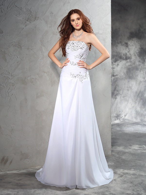 Chicregina Sheath/Column Strapless Sweep/Brush Train Chiffon Wedding Dress with Lace Beading
