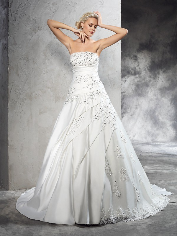 Chicregina Ball Gown Strapless Court Train Satin Wedding Dress with Rhinestone Beading